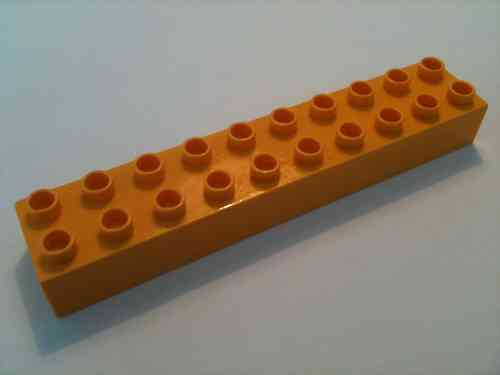 Lego Duplo Baustein 2x10 hell-orange