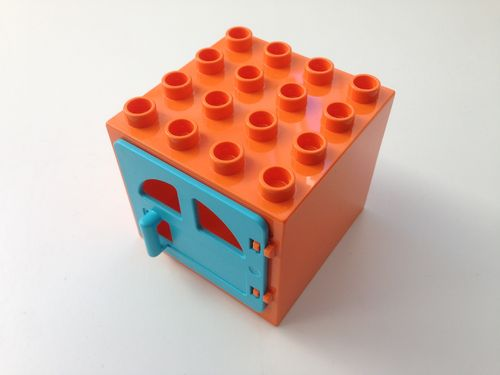 Lego Duplo Fenster 4x4 in orange / türkis-blau